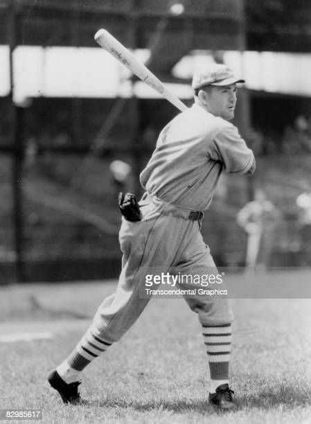 Rogers Hornsby takes batting practice before a game in Sportsmans Park in 1922