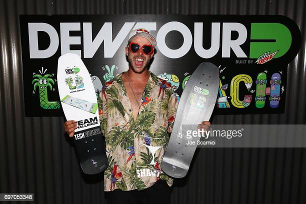 Rogers poses with his award after his team won the Tean Challenge at the Dew Tour Skate Competition on June 17 2017 in Long Beach California