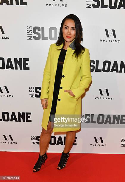 Rogers TV host Tanya Kim attends Miss Sloane Toronto Premiere held at Isabel Bader Theatre on December 5 2016 in Toronto Canada
