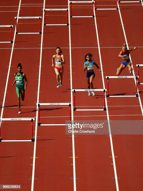 Rogial Joseph of South Africa leads heat 6 of the women's 400m hurdles on day two of The IAAF World U20 Championships on July 11 2018 in Tampere...
