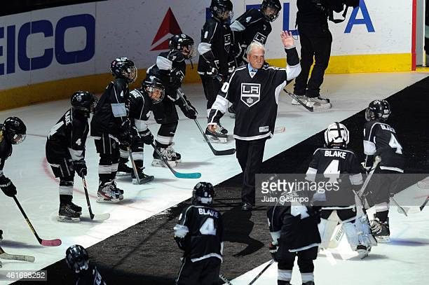 Rogie Vachon is introduced during Rob Blake's jersey retirement ceremony before a game between the Los Angeles Kings and the Anaheim Ducks at STAPLES...