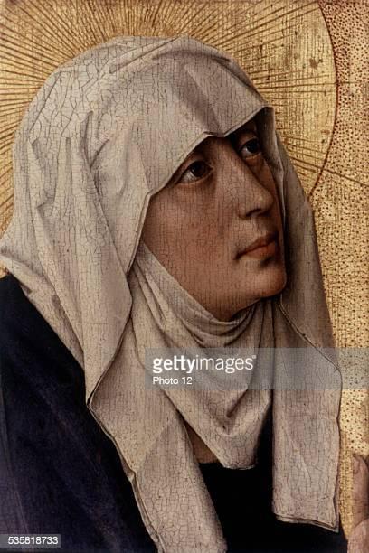 Rogier Van Der Weyden aka Rogier de La Pasture Flemish school Altarpiece at the Beaune HôtelDieu charity hospital detail the Virgin Mary 1443