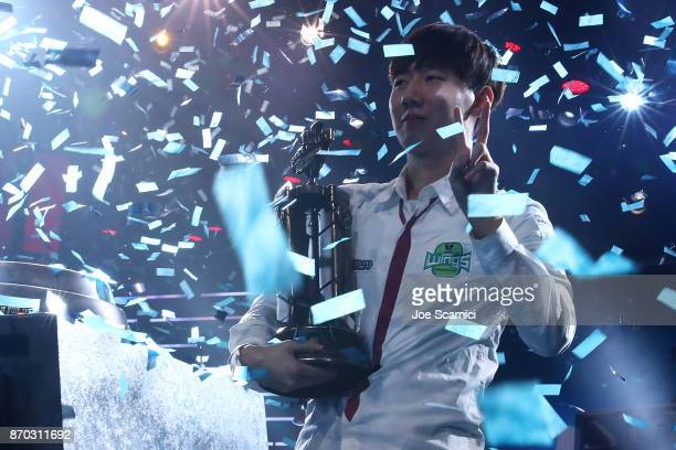 Rogue celebrates his win during the StarCraft World Championship Global Finals at BlizzCon 2017 at Anaheim Convention Center on November 3 2017 in...