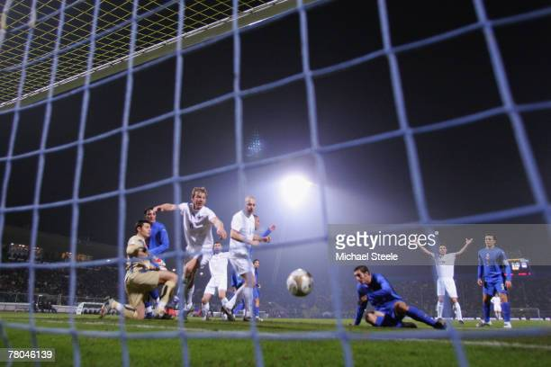 Rogvi Jacobsen of Faroe Islands celebrates a goal only to have it disallowed by referee Florian Meyer during the Euro 2008 Group B qualifying match...