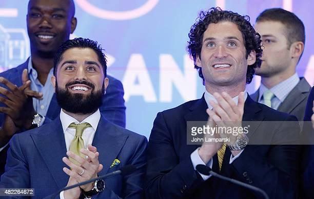 Roh Habibi and Justin Fichelson ring the Nasdaq Stock Market opening bell celebrating the Million Dollar Listing San Francisco during opening bell at...