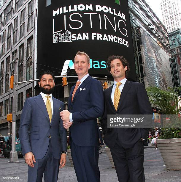 Roh Habibi Andrew Greenwell and Justin Fichelson attend Million Dollar Listing San Francisco Rings The Nasdaq Stock Market Opening Bell at NASDAQ...