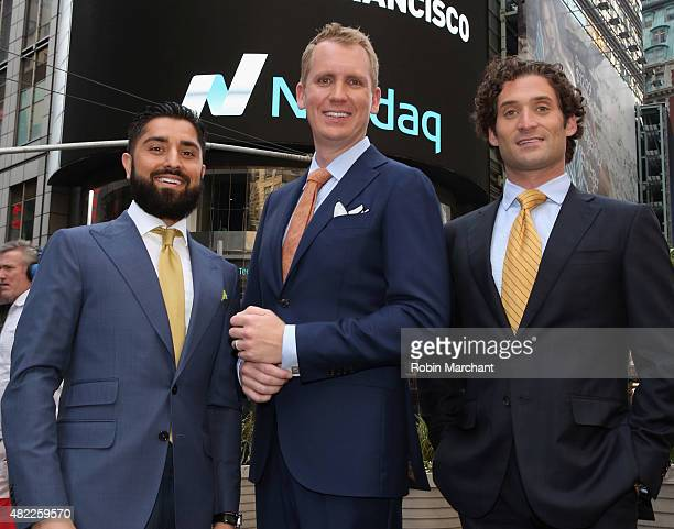 Roh Habibi Andrew Greenwell and Justin Fichelson attend the Million Dollar Listing San Francisco Ring The Nasdaq Stock Market Opening Bell at NASDAQ...