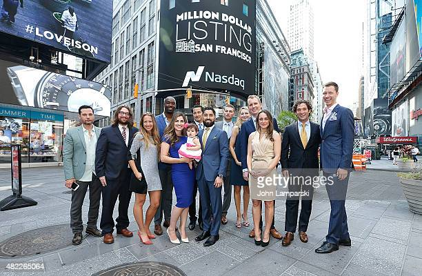 Roh Habibi Andrew Greenwell Justin Fichelson and guests ring the Nasdaq Stock Market opening bell celebrating the Million Dollar Listing San...