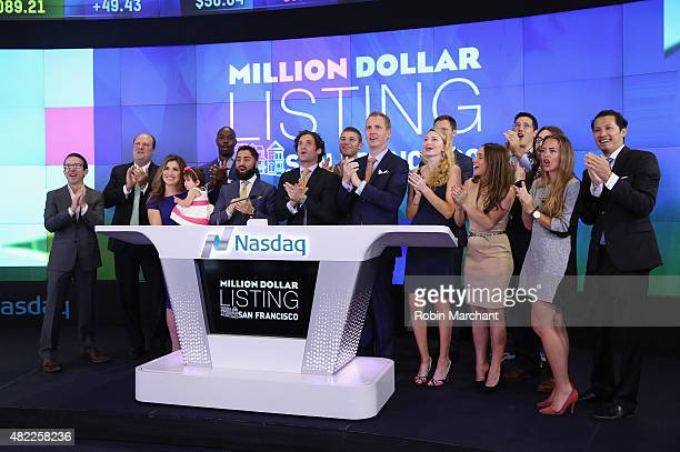 Roh Habibi Justin Fichelson and Andrew Greenwell attend the Million Dollar Listing San Francisco Ring The Nasdaq Stock Market Opening Bell at NASDAQ...
