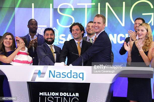 Roh Habibi Justin Fichelson and Andrew Greenwell attends Million Dollar Listing San Francisco Rings The Nasdaq Stock Market Opening Bell at NASDAQ...