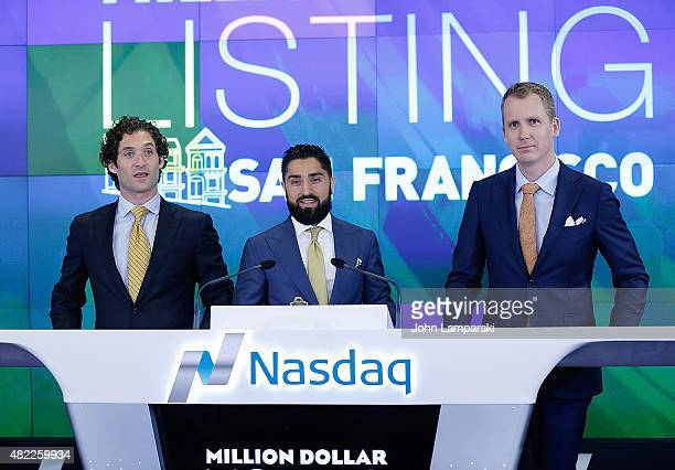 Roh Habibi Justin Fichelson and Andrew Greenwell ring the Nasdaq Stock Market opening bell celebrating the Million Dollar Listing San Francisco...