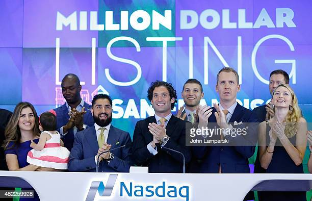 Roh Habibi Justin Fichelson Andrew Greenwell and guests ring the Nasdaq Stock Market opening bell celebrating the Million Dollar Listing San...