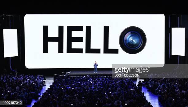 TM Roh President and Head of Mobile Communications Business speaks during the Samsung Galaxy Unpacked 2020 event in San Francisco California on...