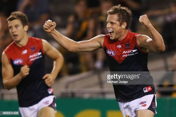 Rohan Bail of the Demons celebrates a goal during the round one AFL NAB Challenge Cup match between the Richmond Tigers and the Melbourne Demons at...