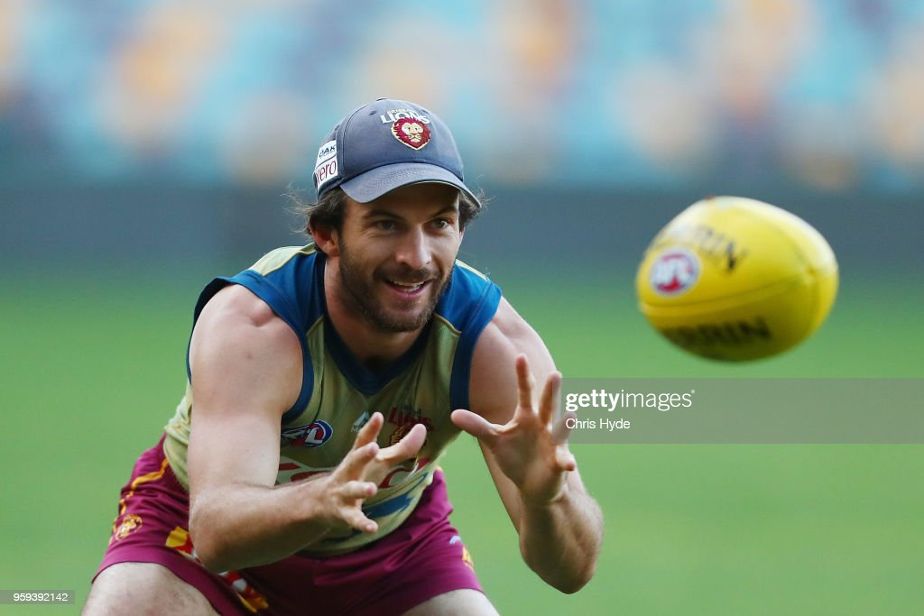 Rohan Bewick catches during the Brisbane Lions AFL training session at The Gabba on May 17, 2018 in Brisbane, Australia.