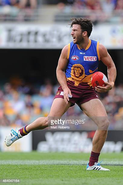 Rohan Bewick of the Lions reacts towards the referee during the round 22 AFL match between the Brisbane Lions and the Fremantle Dockers at The Gabba...