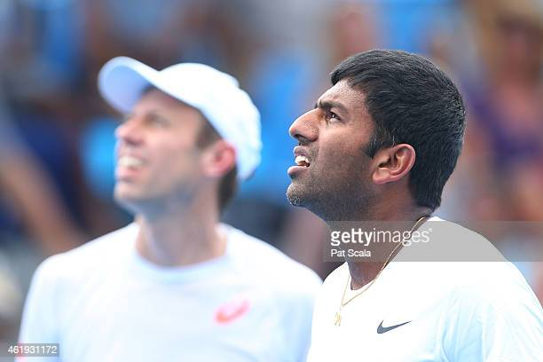 Rohan Bopanna of India and Daniel Nestor of Canada in action in their first round doubles match against Marcos Baghdatis of Cyprus and Marinko...