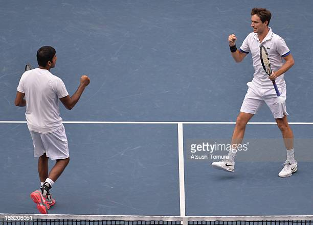 Rohan Bopanna of India and Edouard RogerVasselin of France react during men's doubles final match against Jamie Murray of Great Britain and John...