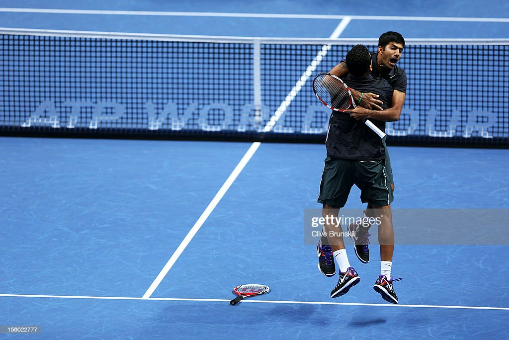 Rohan Bopanna (R) of India and Mahesh Bhupathi of India celebrate victory after their men's doubles semifinal match against Radek Stepanek of Czech Republic and Leander Paes of India during day seven of the ATP World Tour Finals at O2 Arena on November 11, 2012 in London, England.