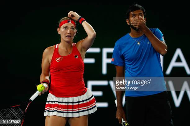 Rohan Bopanna of India and Timea Babos of Hungary celebrates talk tactics in their mixed doubles final against Gabriela Dabrowski of Canada and Mate...