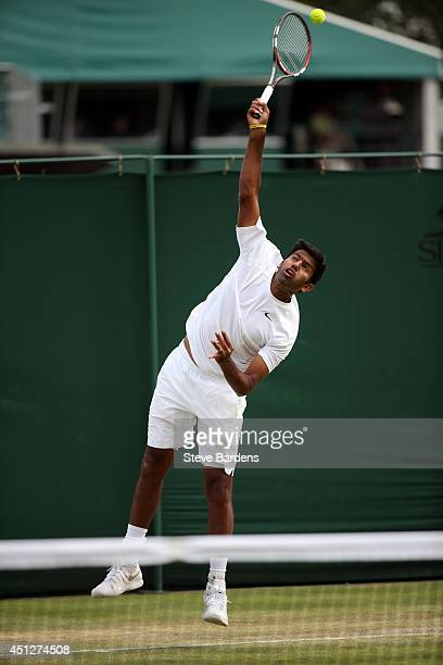 Rohan Bopanna of India during his Gentlemen's Doubles first round match with Aisam Qureshi of Pakistanagainst Frantisek Cermak of Czech Republic and...