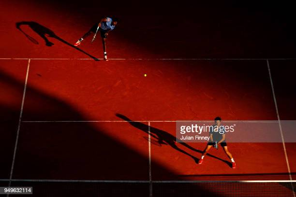 Rohan Bopanna of India serves with partner Edouard RogerVasselin of France against Oliver Marach of Austria and Mate Pavic of Croatia in the doubles...