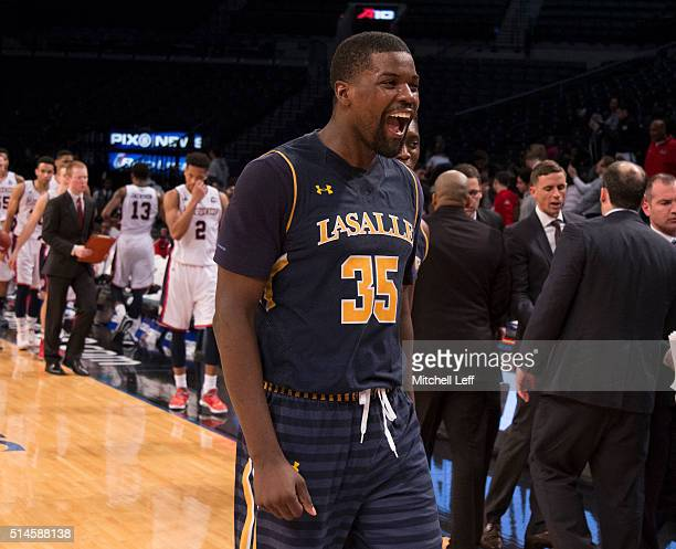 Rohan Brown of the La Salle Explorers reacts after the game against the Duquesne Dukes in the first round of the men's Atlantic 10 tournament on...