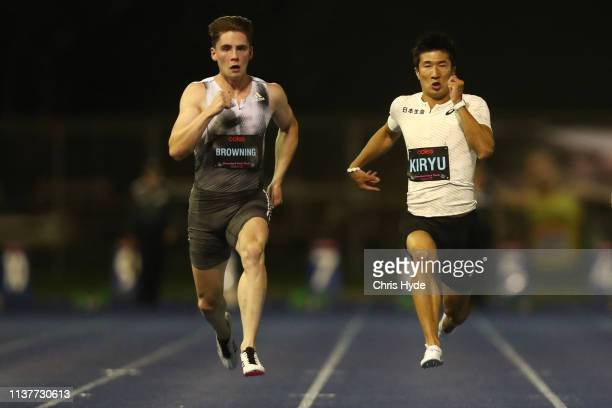 Rohan Browning and Yoshihide Kiryu compete in the Mens 100m final during the Queensland Track Classic media opportunity at the BLK Performance Centre...