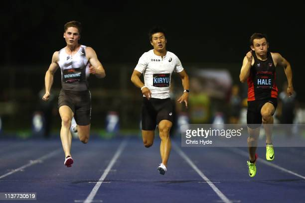 Rohan Browning Yoshihide Kiryu and Jack Hale compete in the Mens 100m final during the Queensland Track Classic media opportunity at the BLK...