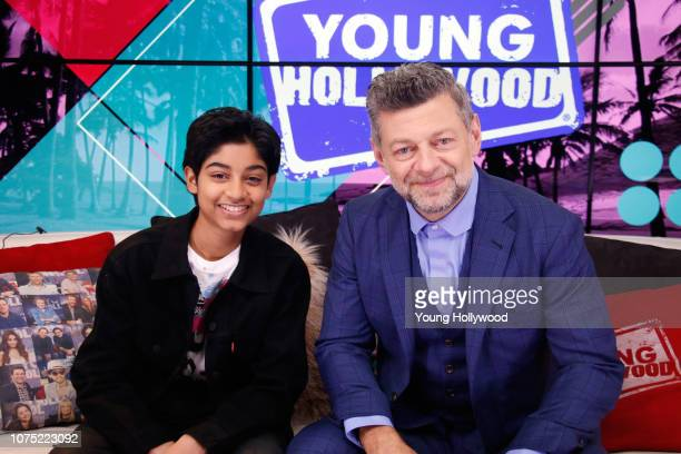Rohan Chand and Andy Serkis visits the Young Hollywood Studio on November 30 2018 in Los Angeles California