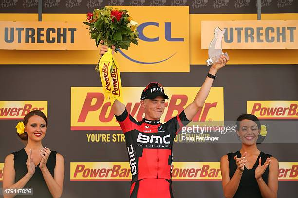 Rohan Dennis of Australia and BMC Racing Team celebrates on the podium following his victory during stage one of the 2015 Tour de France on July 4,...