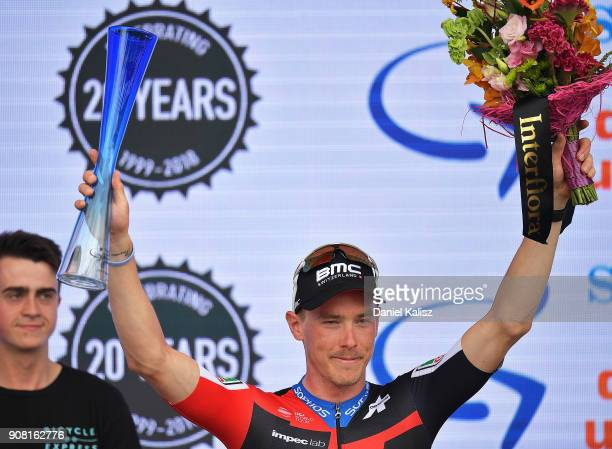 Rohan Dennis of Australia and BMC Racing Team celebrates on the podium after stage six of the 2018 Tour Down Under on January 21 2018 in Adelaide...