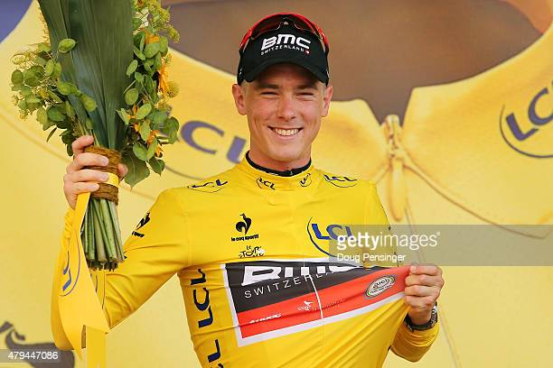 Rohan Dennis of Australia and BMC Racing Team wears the yellow jersey following his victory during stage one of the 2015 Tour de France on July 4,...