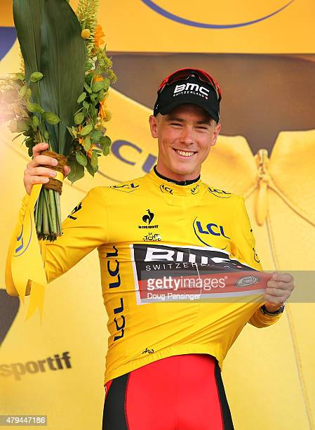 Rohan Dennis of Australia and BMC Racing Team wears the yellow jersey following his victory during stage one of the 2015 Tour de France on July 4...