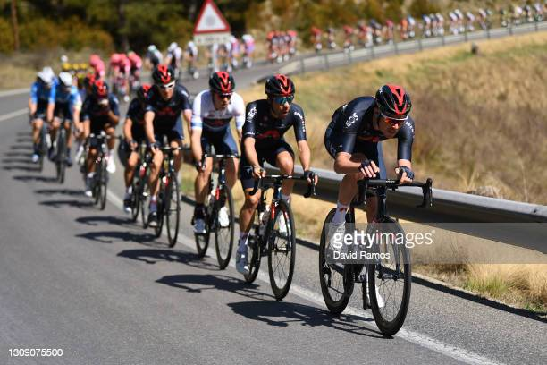 Rohan Dennis of Australia Blue Points Jersey, Jonathan Castroviejo of Spain & Luke Rowe of United Kingdom and Team INEOS Grenadiers during the 100th...
