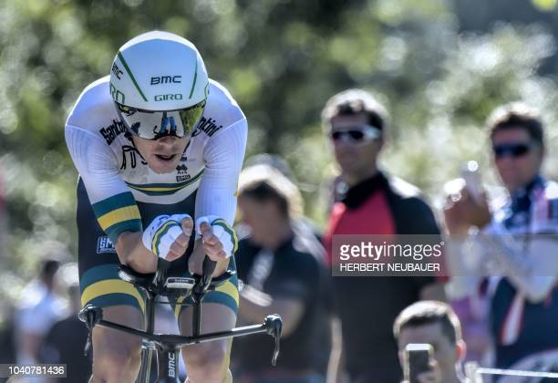 Rohan Dennis of Australia competes to win the Men's Individual Time Trial road race between Rattenberg and Innsbruck during the UCI Cycling Road...