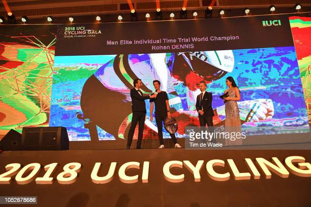 Rohan Dennis of Australia Men Elite Individual Time Trial World Champion / Miles Scotson of Australia collects the prize / during the 4th UCI Gala...