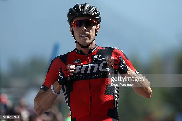 Rohan Dennis of Australia riding for BMC Racing celebrates as he crosses the finish line to win stage four and take the overall race lead in the 2015...