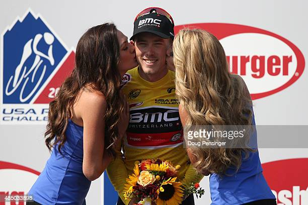 Rohan Dennis of Australia riding for BMC Racing is awarded the overall race leader's jersey of the 2015 USA Pro Challenge from Golden to Denver on...