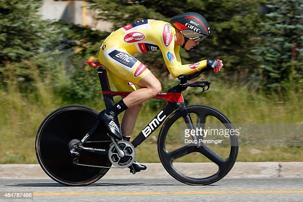 Rohan Dennis of Australia riding for BMC Racing races to first place in the individual time trial during stage five and defends the overall race...