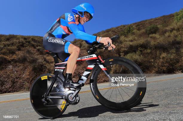 Rohan Dennis of Australia riding for Garmin-Sharp rides to third place in the Individual Time Trial during stage Six of the 2013 Amgen Tour of...