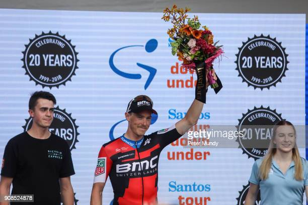 Rohan Dennis of BMC RACING TEAM of BMC RACING TEAM was celebrating at the Santos Tour Down Under after Stage six Be Safe Be Seen MAC at the Santos...