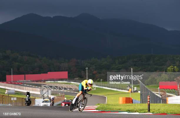 Rohan Dennis of Team Australia rides during the Men's Individual time trial on day five of the Tokyo 2020 Olympic Games at Fuji International...