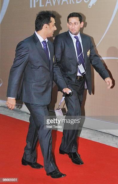 Rohan Gavaskar and Ajit Agarkar arrive for the IPL Awards night in Mumbai on April 23 2010