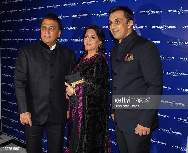 Rohan Gavaskar, Chhaya Momaya and Sunil Gavaskar pose for the cameras attend an event organised by Ulysse Nardin to honour Sunil Gavaskar at Taj...