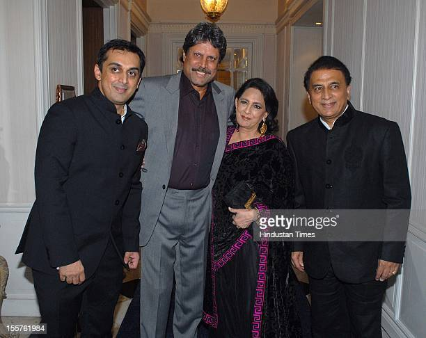 Rohan Gavaskar, Kapil Dev, Chhaya Momaya and Sunil Gavaskar pose during an event organised by Ulysse Nardin to honour Sunil Gavaskar at Taj Mahal...