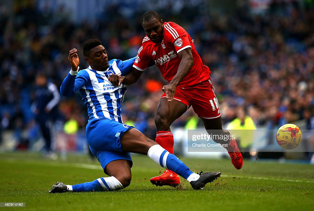 Rohan Ince (L) of Brighton battles for the ball with Forest's Michail Antonio during the Sky Bet Championship match between Brighton & Hove Albion and Nottingham Forest at The Amex Stadium on February 07, 2015 in Brighton, England.