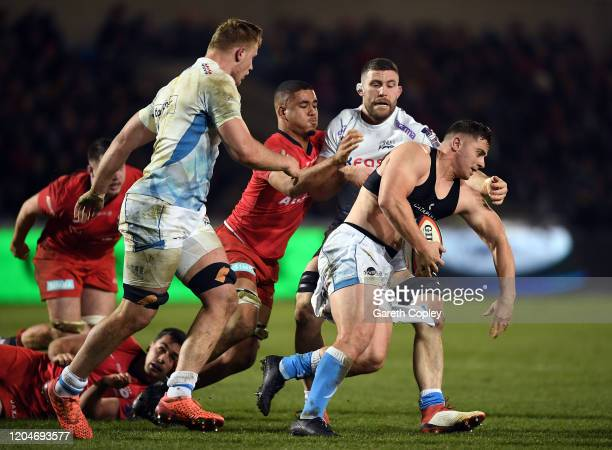Rohan Janse van Rensburg of Sale Sharks looses his shirt during the Premiership Rugby Cup SemiFinal match between Sale Sharks and Saracens at AJ Bell...
