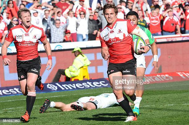 Rohan Janse van Rensburg of the Lions in action during the Super Rugby match between Emirates Lions and Highlanders at Emirates Airline Park on July...