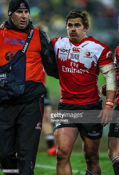 Rohan Janse van Rensburg of the Lions leaves with an injury during the 2016 Super Rugby Final match between the Hurricanes and the Lions at Westpac...